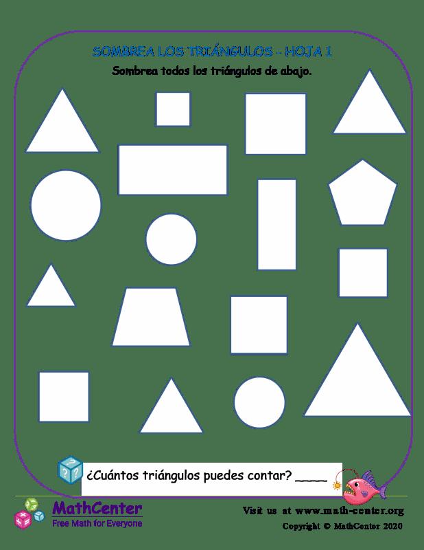 Sombrea Los Triángulos Hoja 1