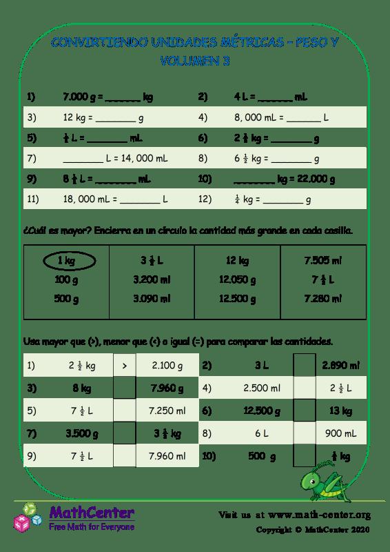 Convirtiendo Unidades Métricas – Peso Y Volumen 3