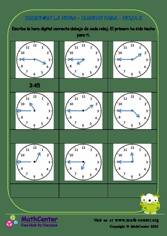 Diciendo La Hora - Cuarto Para Hoja 2