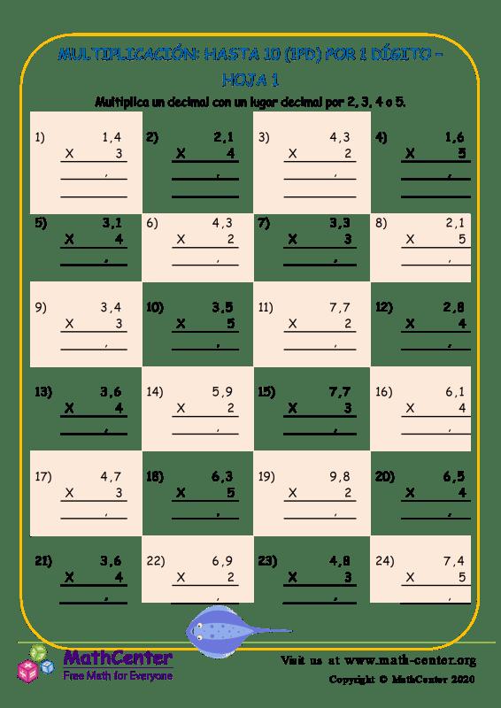 Multiplicación: Hasta 10 (1Pd) Por 1 Dígito Hoja 1