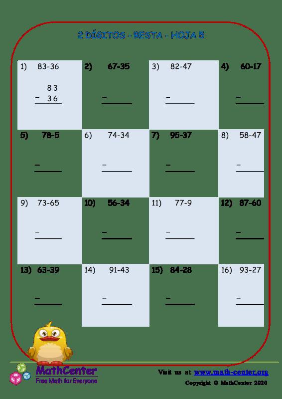 2 Dígito - Resta - Hoja 5