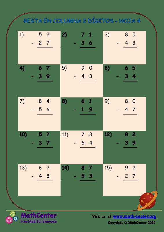 Resta En Columna 2-Dígitos Hoja 4