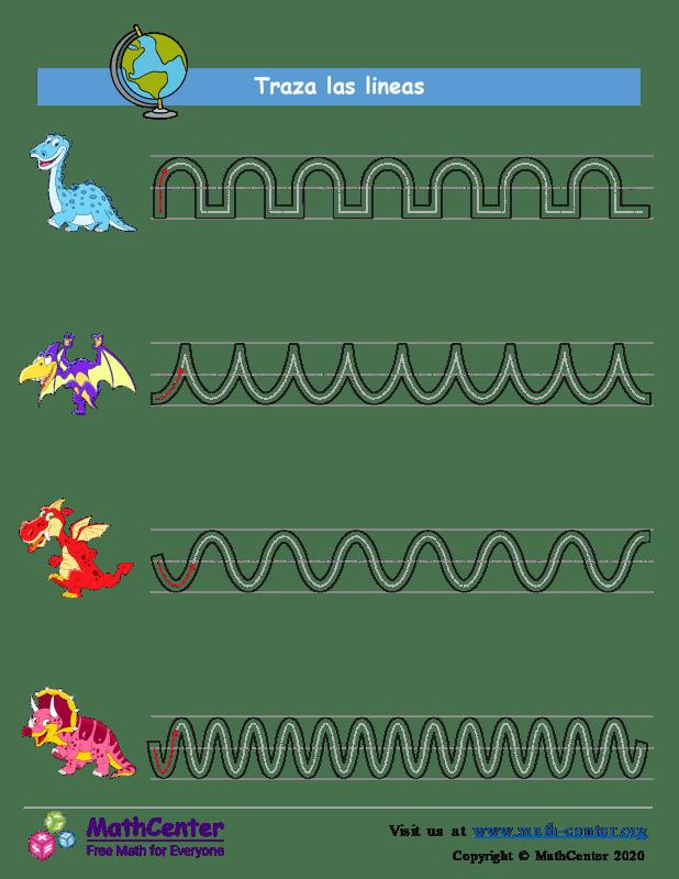 Trazando líneas - Dinosaurio