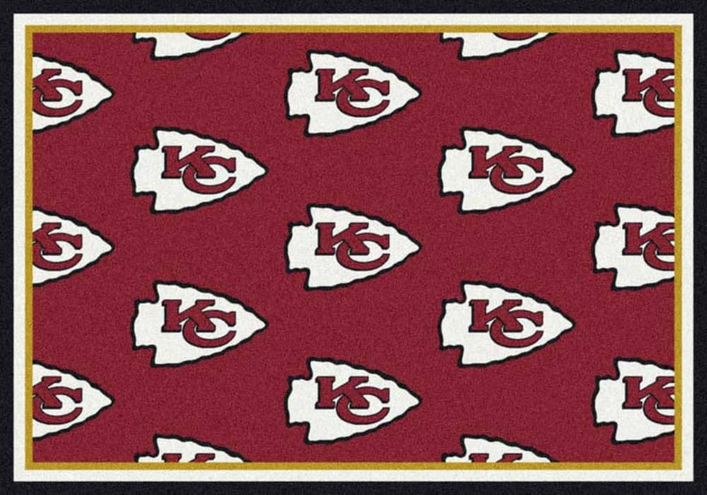 Area Rug With Kansas City Chiefs Red Background Sports