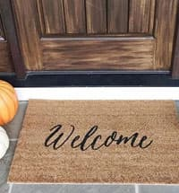 Door mat in front of door