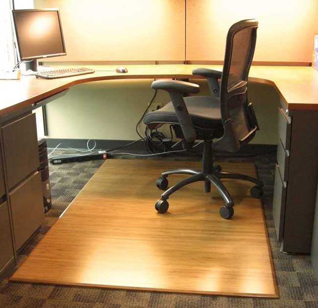 Bamboo Chair Mat For Office Carpet Or Wood Floors Tri Fold