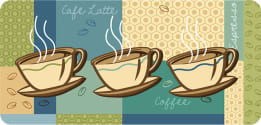 Cushion Comfort Kitchen Mat - Coffee Cups