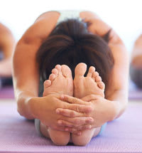 Front view of woman in yoga pose