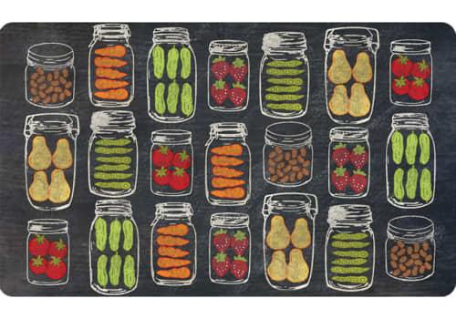 Cushion Comfort Kitchen Mat - Veggie Jars