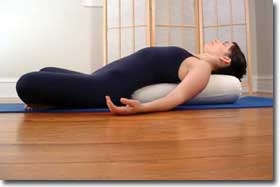 Rectangular Yoga Bolster in use
