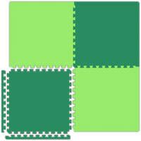 Interlocking Floor Tiles - Reversible Lime Green/Forest Green