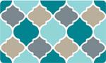 Decor Foam Kitchen Mat: Quatrefoil - Blue Tan