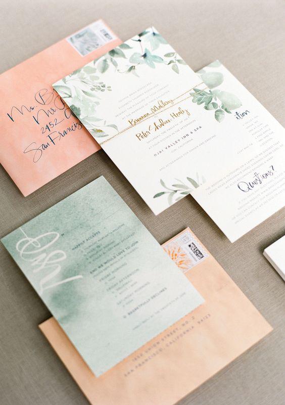 Mẫu thiệp cưới đẹp với phong cách in màu nước