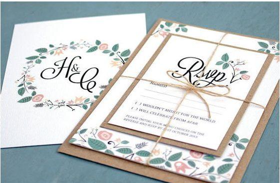Mẫu thiệp cưới đẹp với phong cách rustic