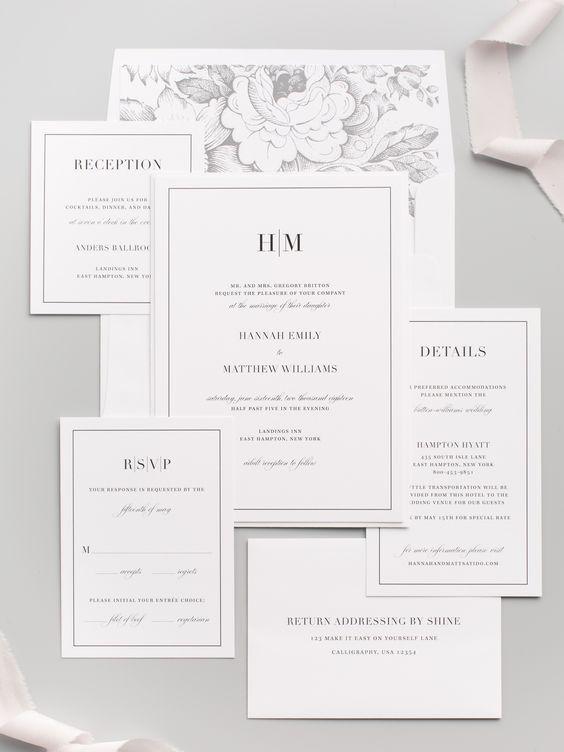 Mẫu thiệp cưới đẹp với phong cách tối giản