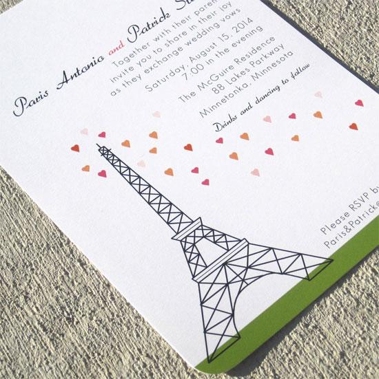 hình ảnh tháp Eiffel vào thiệp cưới