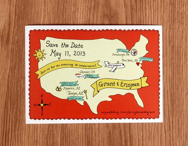 Thiệp cưới phong cách bản đồ dễ thương