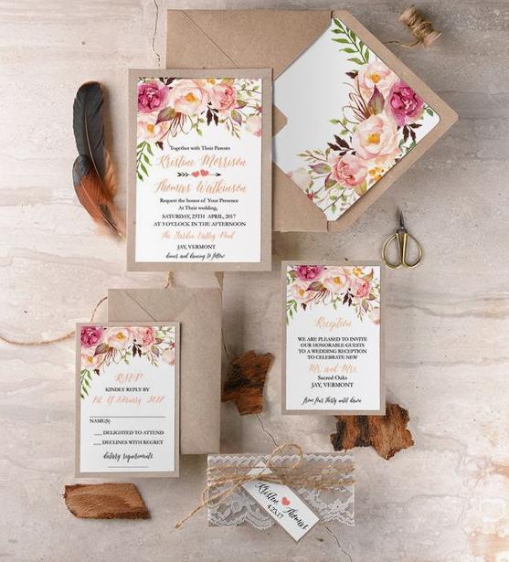 Thiệp cưới in hình hoa lá