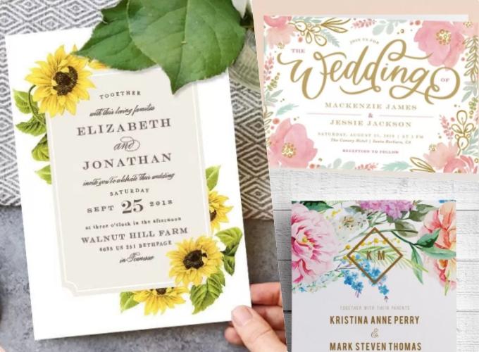 Thiệp cưới in hoạ tiết hoa lá độc đáo