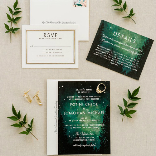 Thiệp cưới lấy cảm hứng từ những cánh rừng