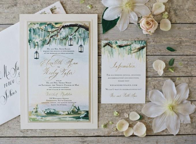 Thiệp mời minh họa địa điểm mà cô dâu chú rể sinh sống