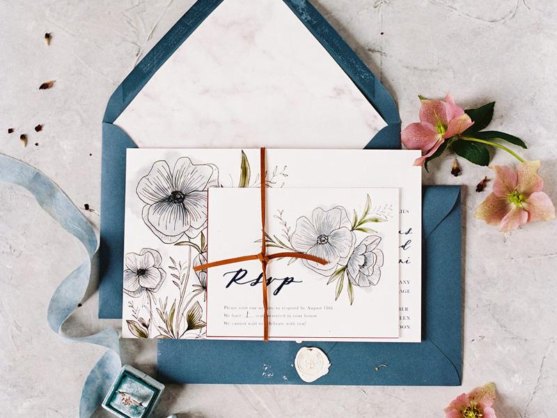 mẫu thiệp cưới hoa cỏ