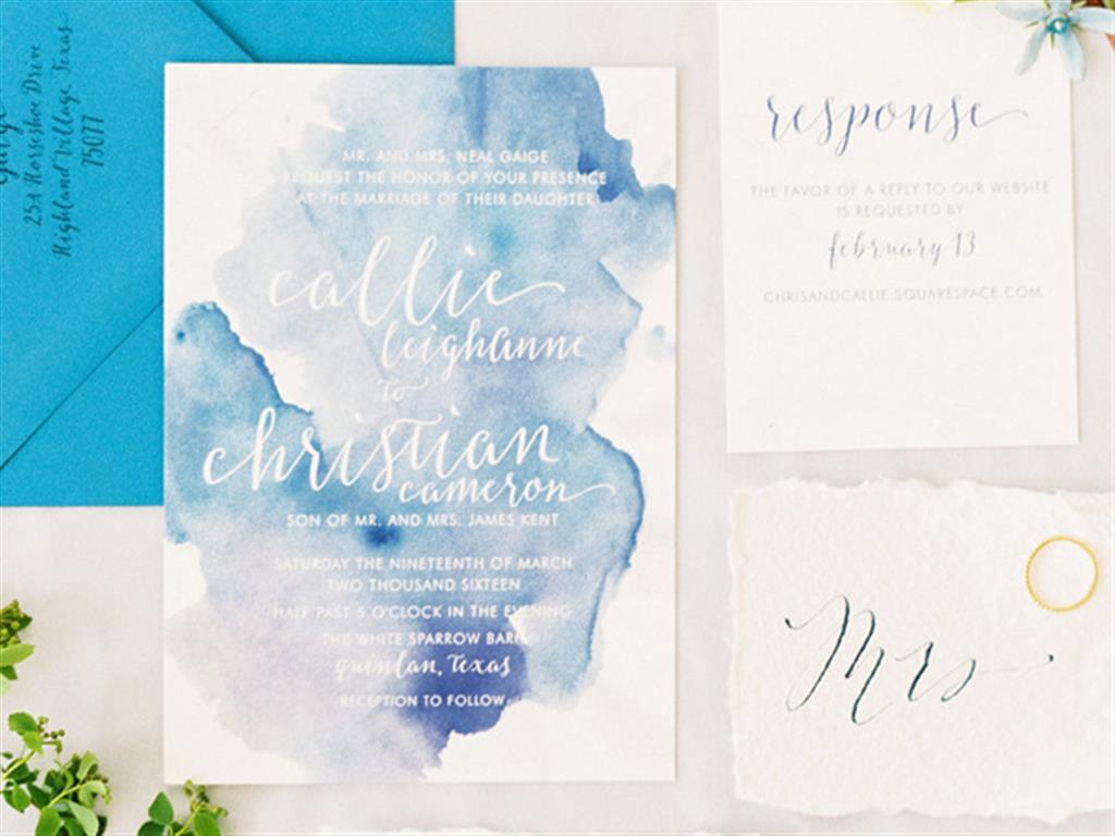 Thiệp cưới xanh Pastel