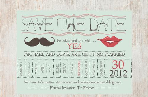 Mẫu thiệp cưới in hình lịch