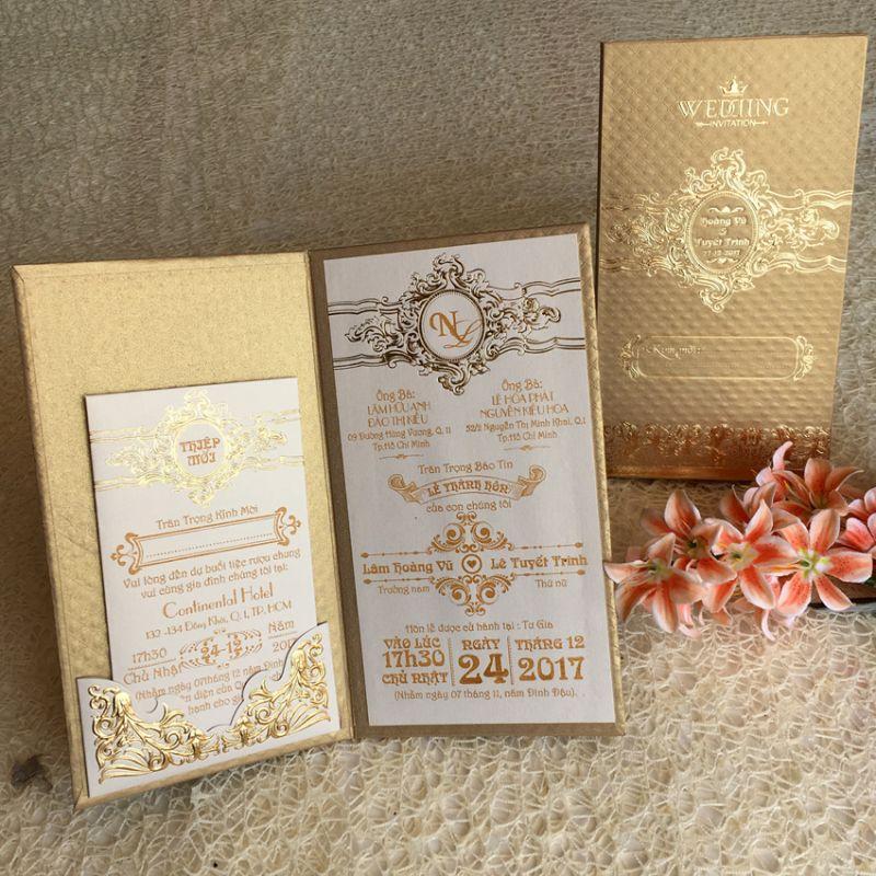 Mẫu thiệp cưới màu vàng quý phái