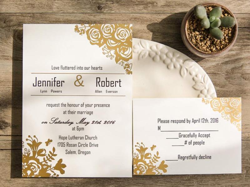 Mẫu thiệp cưới kết hợp màu vàng đồng sang trọng