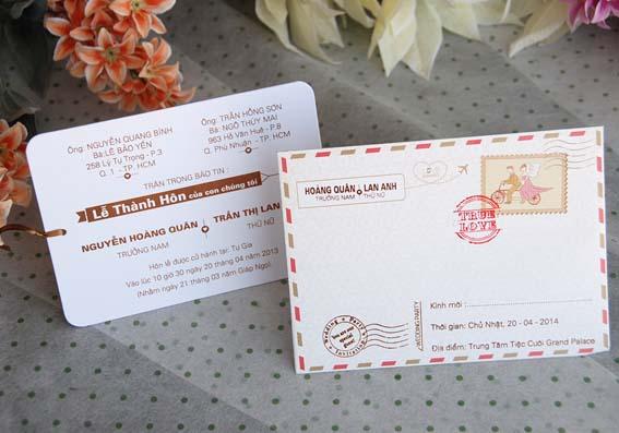 Mẫu thiệp cưới bì thư cách điệu