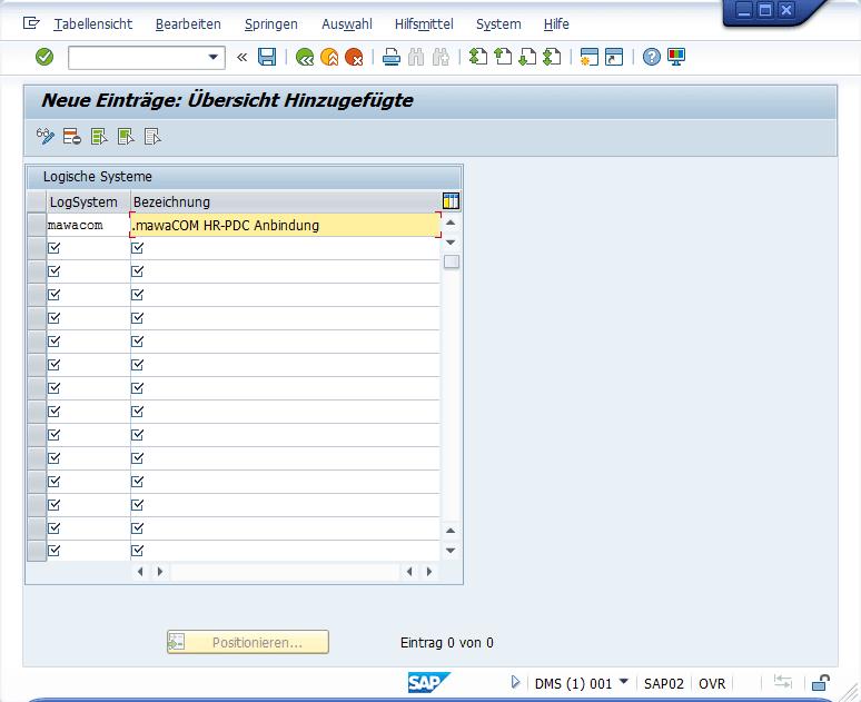 SAP - Neue Einträge