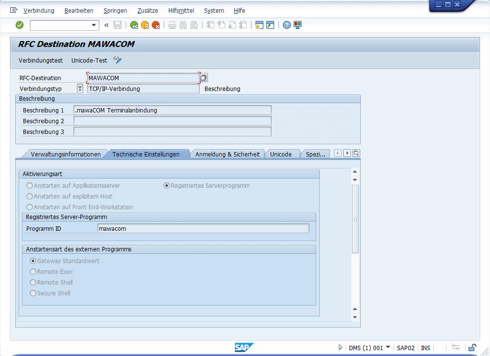 SAP - RFC Destination MAWACOM