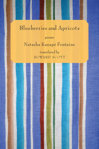 Blueberries and Apricots cover, striped blue and yellow fabric