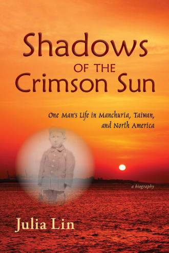 Cover image for Shadows of the Crimson Sun, a beach landscape in red with a photo of a young boy in black and white