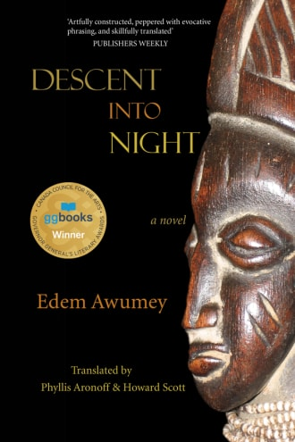 Descent into Night cover, an African mask on a black background