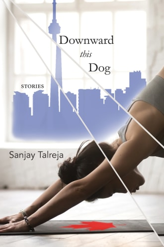 Downward This Dog cover, a woman doing yoga in front of the Toronto skyline
