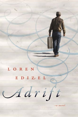 Adrift cover image, white background with a man walking