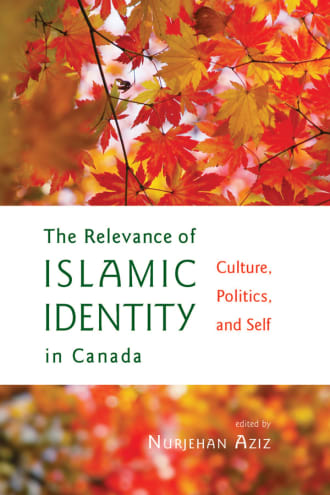 Relevance of Islamic Identity cover, text on a white block with an image of maple leaves