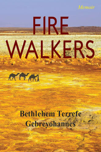 Fire Walkers cover, camels walking on the desert