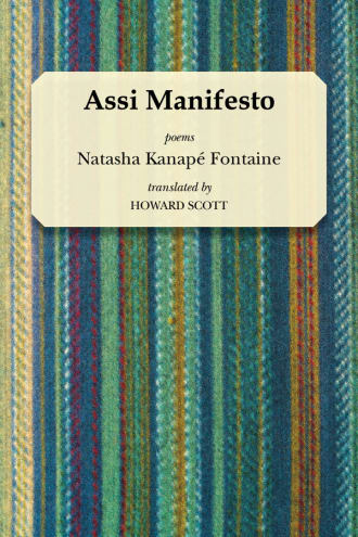 Assi Manifesto cover, striped green fabric background