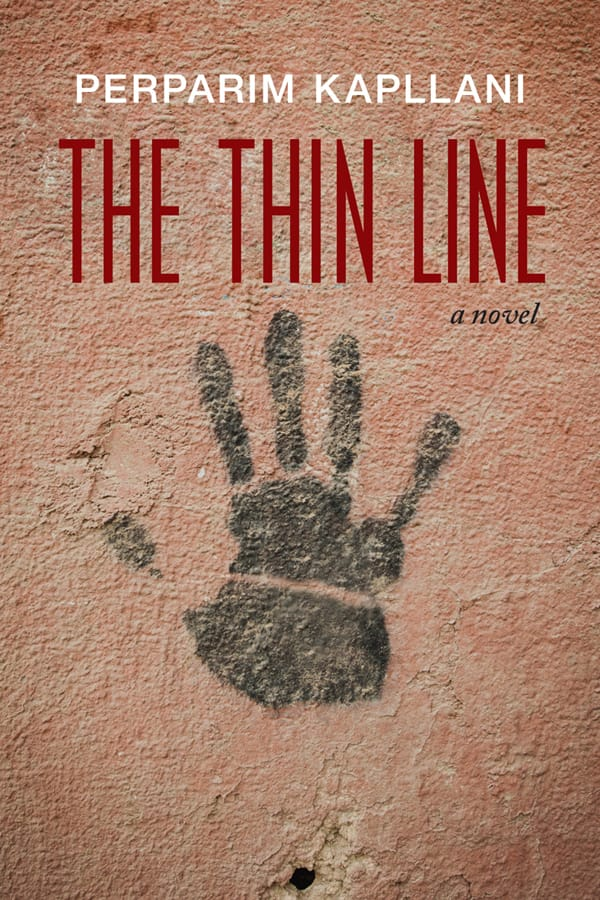 The Thin Line cover, a hand-print on a red wall