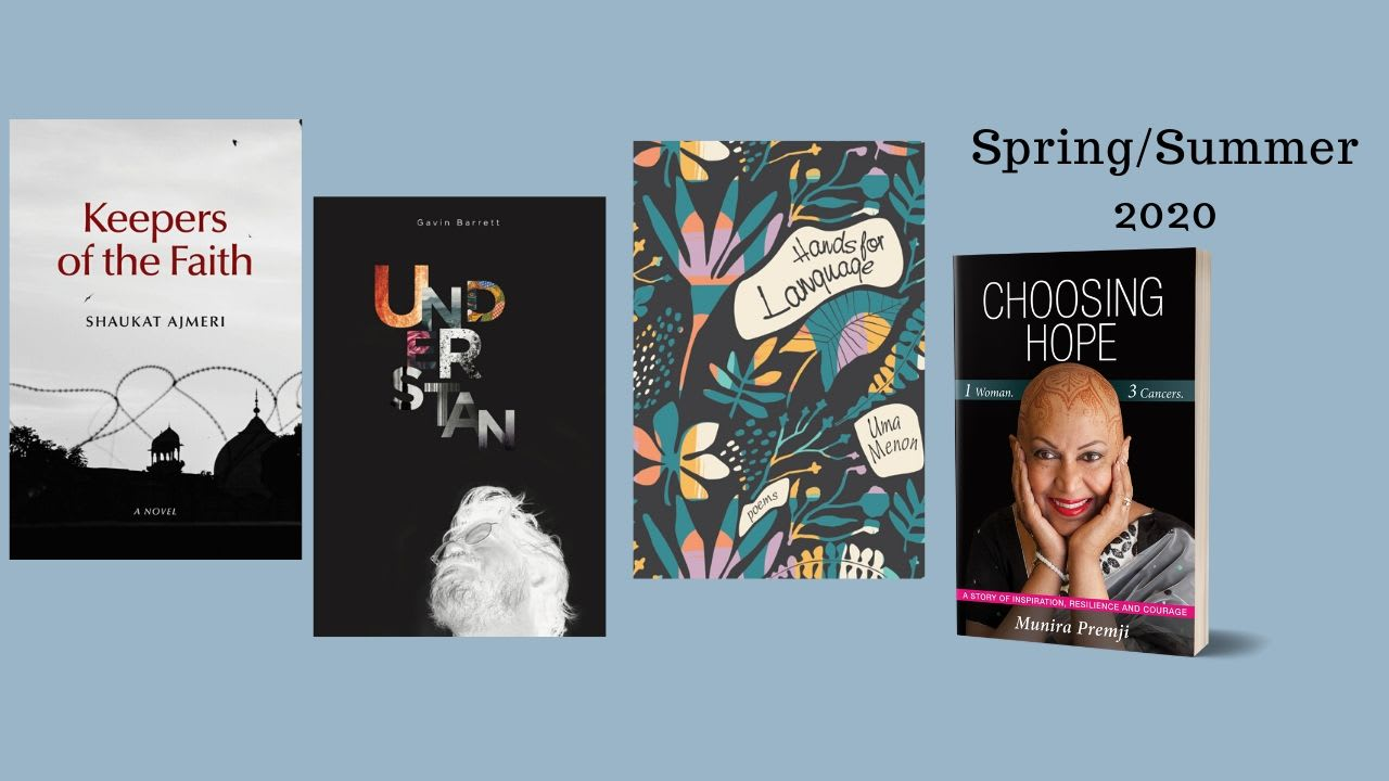 4 covers for Spring 2020 titles on a blue background