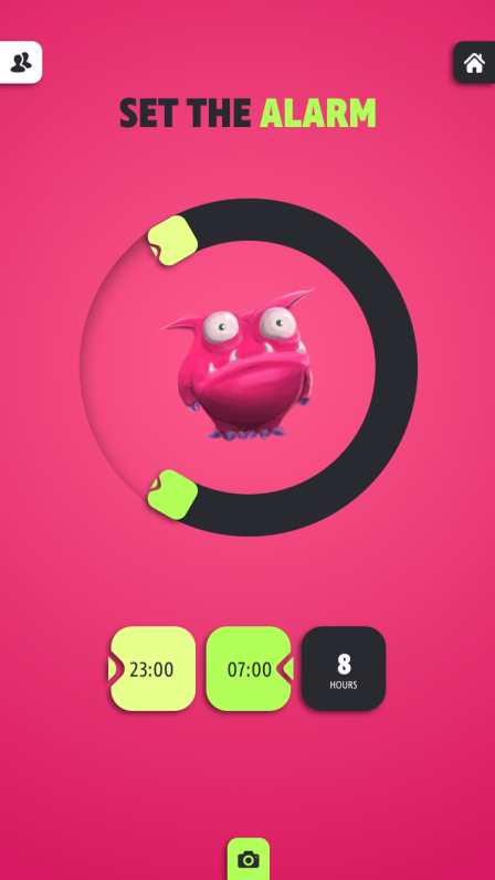 Digital Product - Pink alarm clock screen with monster in the middle
