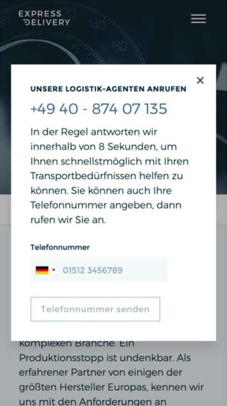 Website redesign - German contact information pop-up