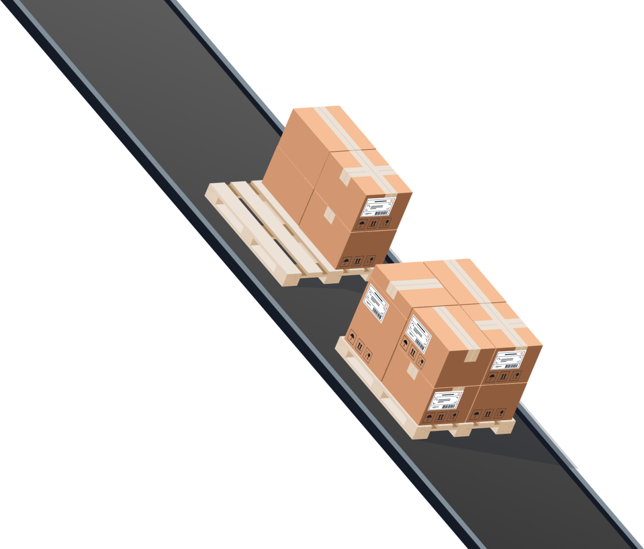 Illustration of pallets and boxes