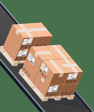 Sendify logistics illustrations - DHL Pallet example