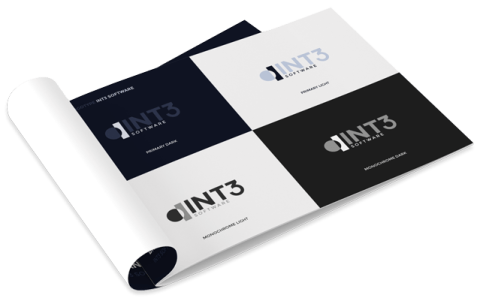 Branding project - Brandbook of Int3 Software with the logotype page showing