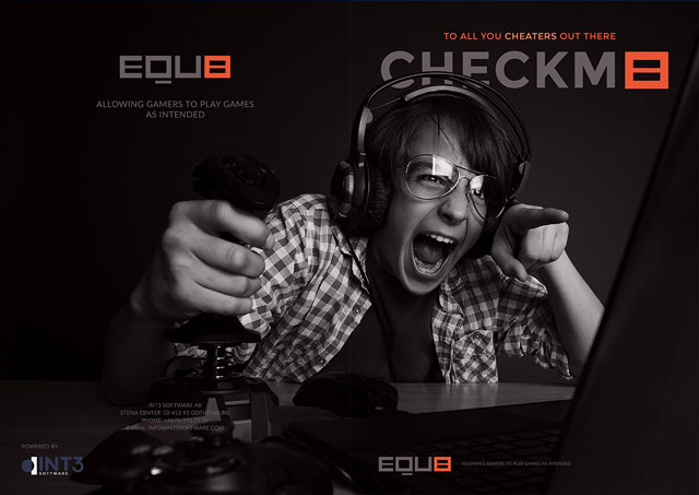 Branding Equ8 - Marketing material of folder with a gaming guy in front of computer