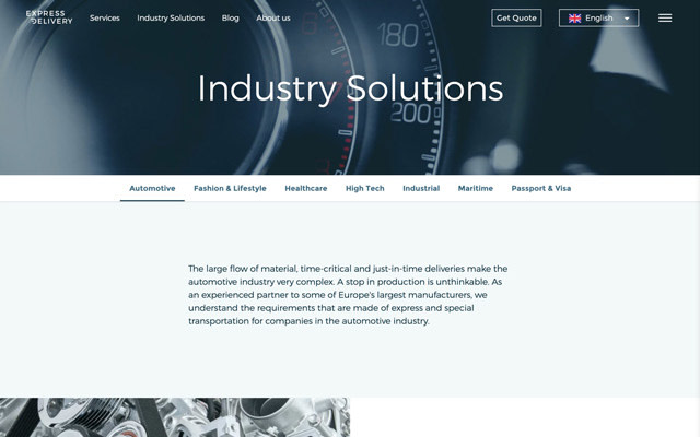 Website redesign example - Industry solutions page